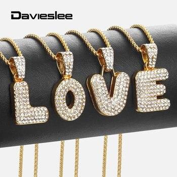 008f239b4074 Davieslee de diamantes de imitación collar de colgantes para las mujeres  oro amarillo Color inicial carta A-Z Bling mujer colgante collares LGP398