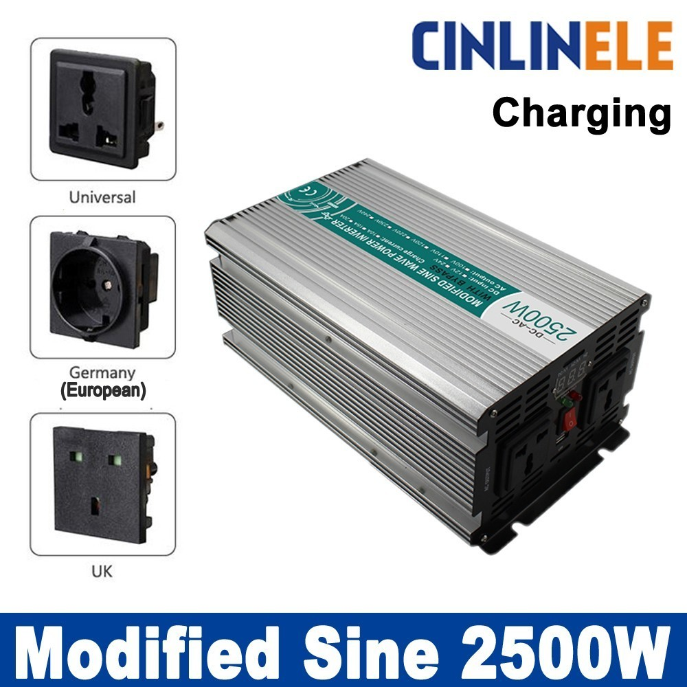 Smart inverter Charger 2500W Modified Sine Wave Inverter CLM2500A DC 12V 24V 48V to AC 110V 220V 2500W Surge Power 5000W