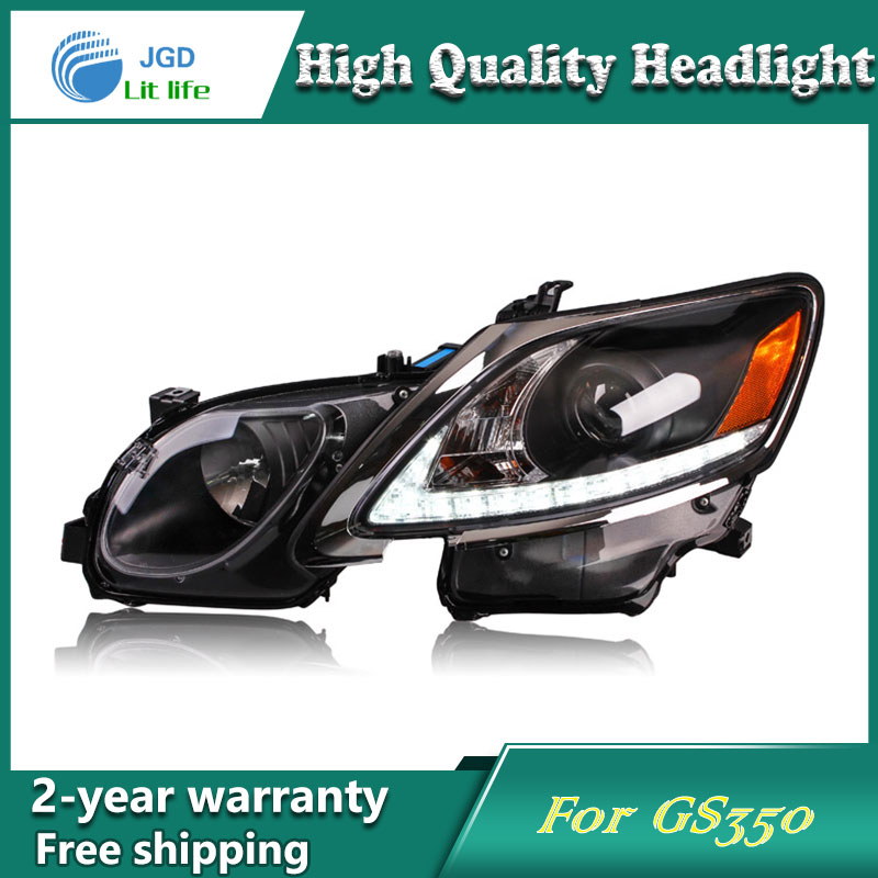 Car Styling Head Lamp case for Lexus GS350 2006-2012 Headlights LED Headlight DRL Lens Double Beam Bi-Xenon HID car Accessories hireno headlamp for 2016 hyundai elantra headlight assembly led drl angel lens double beam hid xenon 2pcs