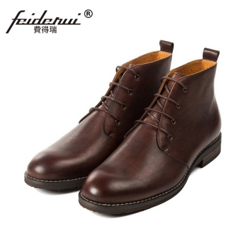 Vintage Comfortable Man High-Top Outdoor Riding Shoes Cowboy Genuine Leather Round Toe Men's Handmade Office Ankle Boots SS30