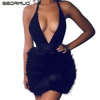 Women Winter Dress 2016 Ladies Sexy Deep V Neck Bodycon Faux Fur Trim Backless Mini Black