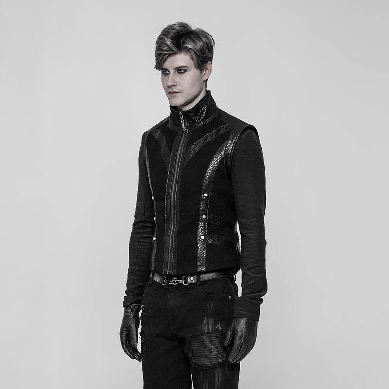 PUNK RAVE Punk Coarse Twill Woven Black Rock Men Vest Personality Fashion Vests Leather Waistcoat Gothic Rock Men Winter Jacket-in Vests & Waistcoats from Men's Clothing    3