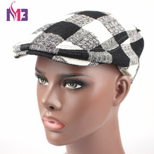 Casual Men Beret Cotton Flat Cap Peaked French Grid Berets H