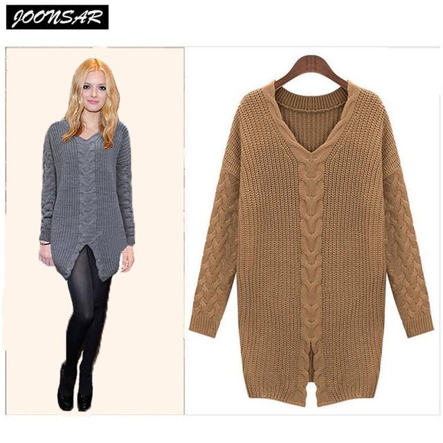 Americanos europeos Grandes Otoño Invierno Mujer Sweaters V-cuello de Lana  de Punto de Algodón 5159ab80fe9a