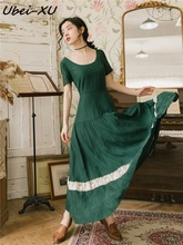 Ubei French retro dress green long slim beach O-neck short sleeve resort holiday summer