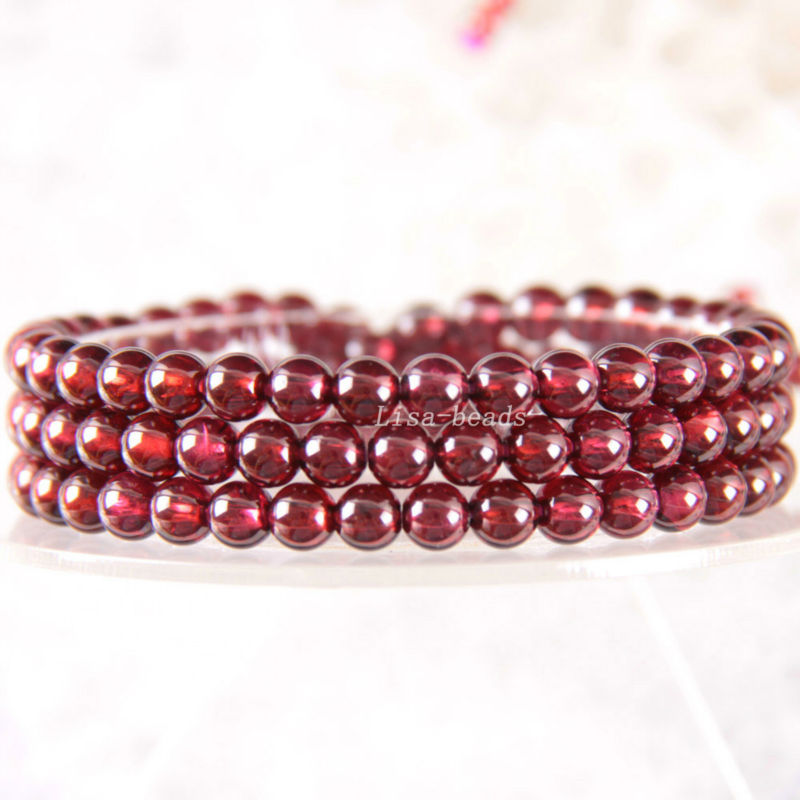 Free Shipping Fine Jewelry Stretch Red Round Beads 5MM AA 100% Natural Garnet Bracelet 21 with Box 1Pcs J029 free shipping fine jewelry stretch red round beads 9mm aa 100