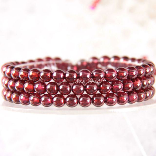 "Free Shipping Fine Jewelry Stretch Red Round Beads 5MM AA 100% Natural Garnet Bracelet 21"" with Box 1Pcs J029"