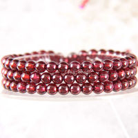Free Shipping Fine Jewelry Stretch Red Round Beads 5MM AA 100% Natural Garnet Bracelet 21 with Box 1Pcs J029