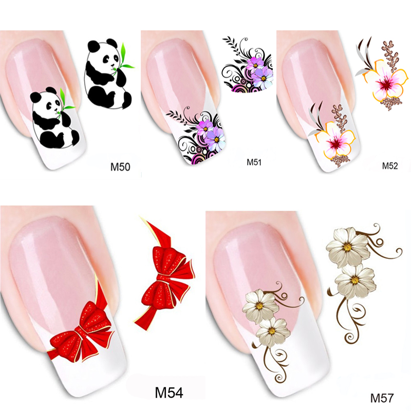 5pcsnail Art Water Decals Transfer Flower Panda Stickers For Nails