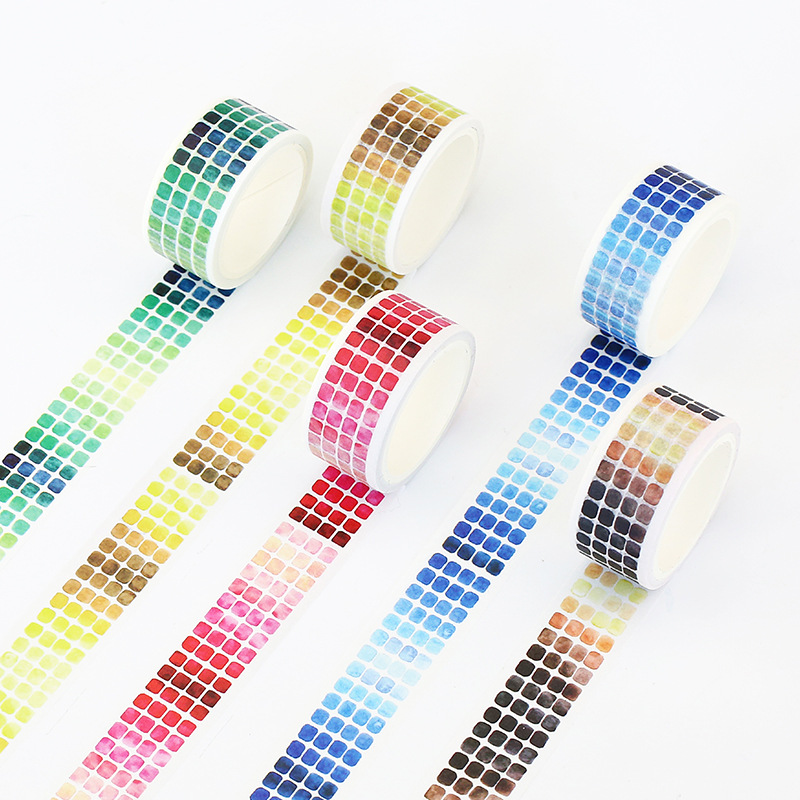 Gradient Geometric Foil Washi Tape Adhesive Tape DIY Scrapbooking Sticker Label Masking Tape