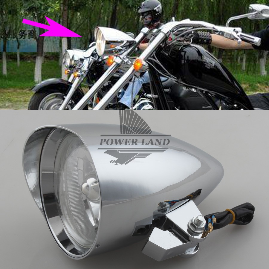 """Chrome Full Metal Hi/Low Been White Lights Visor Bullet Headlight Lamp Clear Lens 4.7"""" For Harley Bobber Chopper 10mm"""