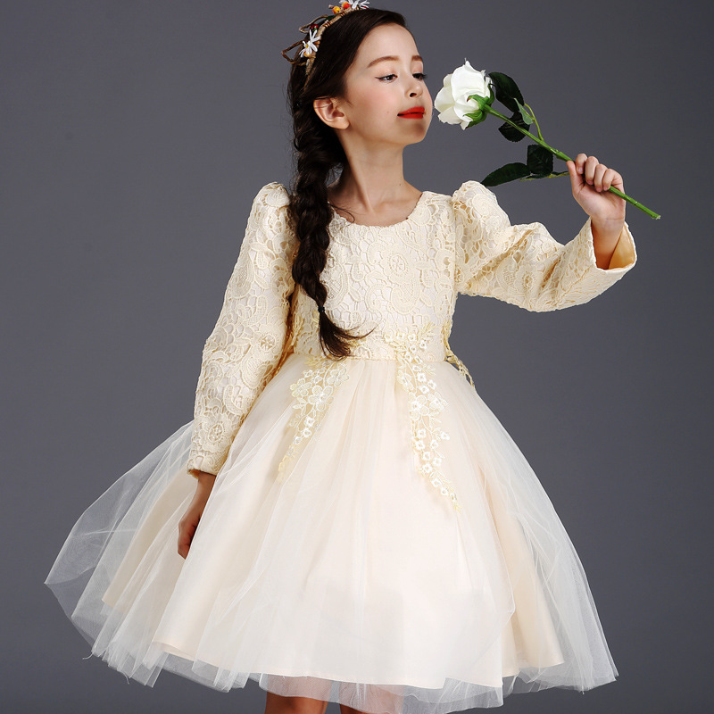 Girls Long Sleeved Autumn Korean Princess Costume Lace Dress Children Piano Kids Clothing Bow Mesh Champagne