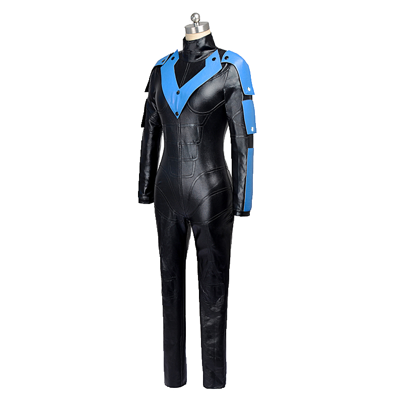Hot Sale Batman Arkham City Nightwing Cosplay Costume Halloween Party Outfit Custom Made Women Leather Jumpsuits