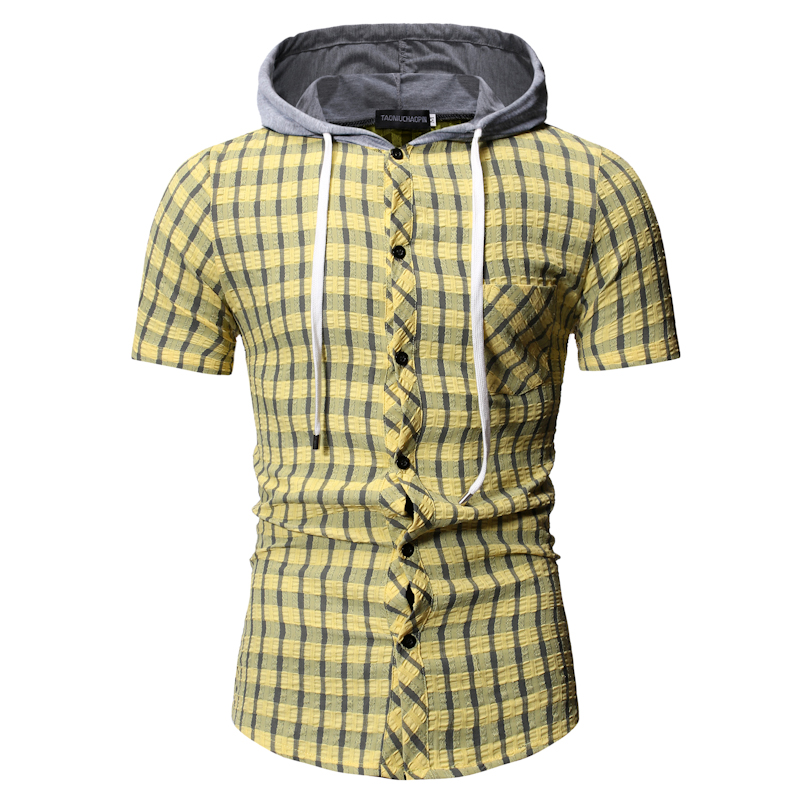 Summer Short Sleeve Shirt Casual Plaid Shirt Slim Fit Hooded Yellow Blue Streetwear Men Clothes Plus Size M-3xl