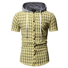 Summer Short Sleeve Shirt Casual Plaid Shirt Slim Fit Hooded Yellow Blue Streetwear Men Clothes Plus Size M-3XL