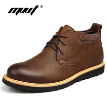 MVVT Autumn and Winter boots men with fur Hand made genuine leather Fashion work shoes Ankle Chaussure homme
