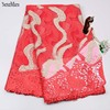 The Latest Style 2017 Bride Wedding Lace Embroidery Nigeria Material Net Lace Fabric Quality Pearl