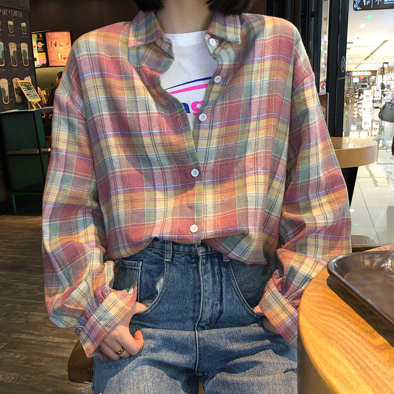 2019 Autumn New Women Long Sleeve Plaid Pink Cotton Shirts Blouses Casual Loose Tops Shirts Blusas