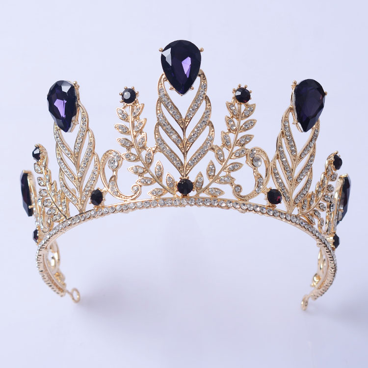 New Magnificent Purple Crystal Bridal Wedding Tiara Fashion Green Women Crown Beauty Contest Hair Jewelry Accessories In From