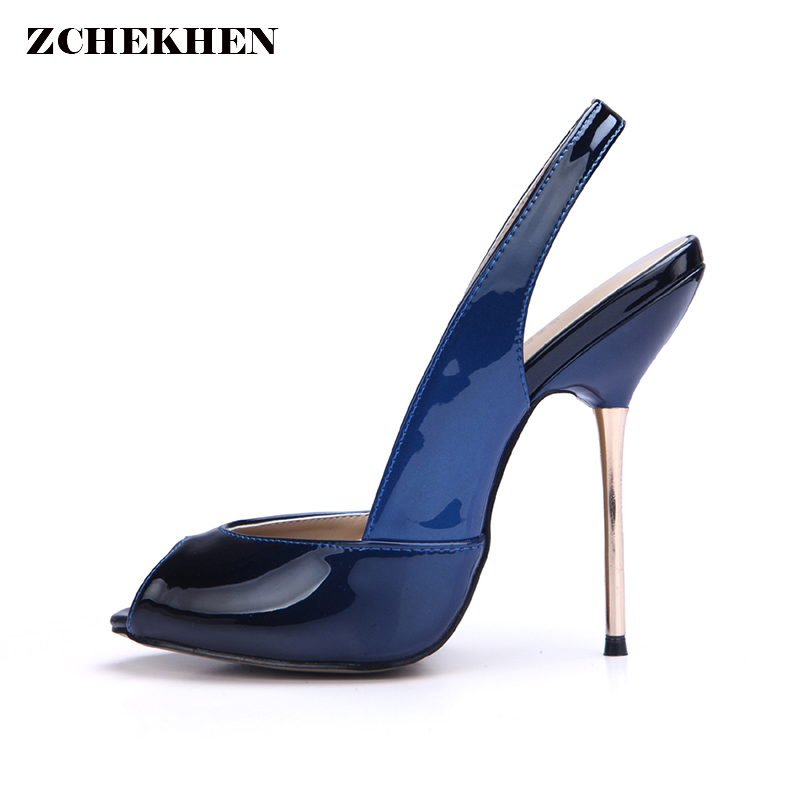 2018 Sexy Women Party Pumps Peep Toe Thin Iron High Heel Slingback Ladies Shoes Summer Shoes for Woman peep toe high heel women pumps slingback