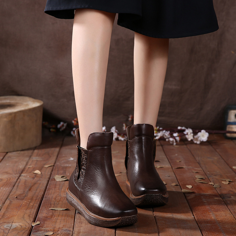Retro Handmade Snow Boots Winter 2016 Lazy Flat Bottomed Leather Pedal Cotton Boots Ankle Boots 341-2