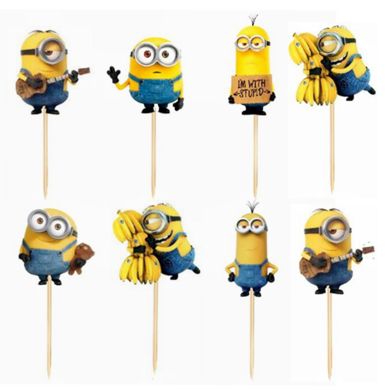 720pcs Funny Cute Minions Cupcake Toppers Pick Baby kids Birthday Wedding Party Supplies Cartoon Cake Flags Decoration Boy Girl