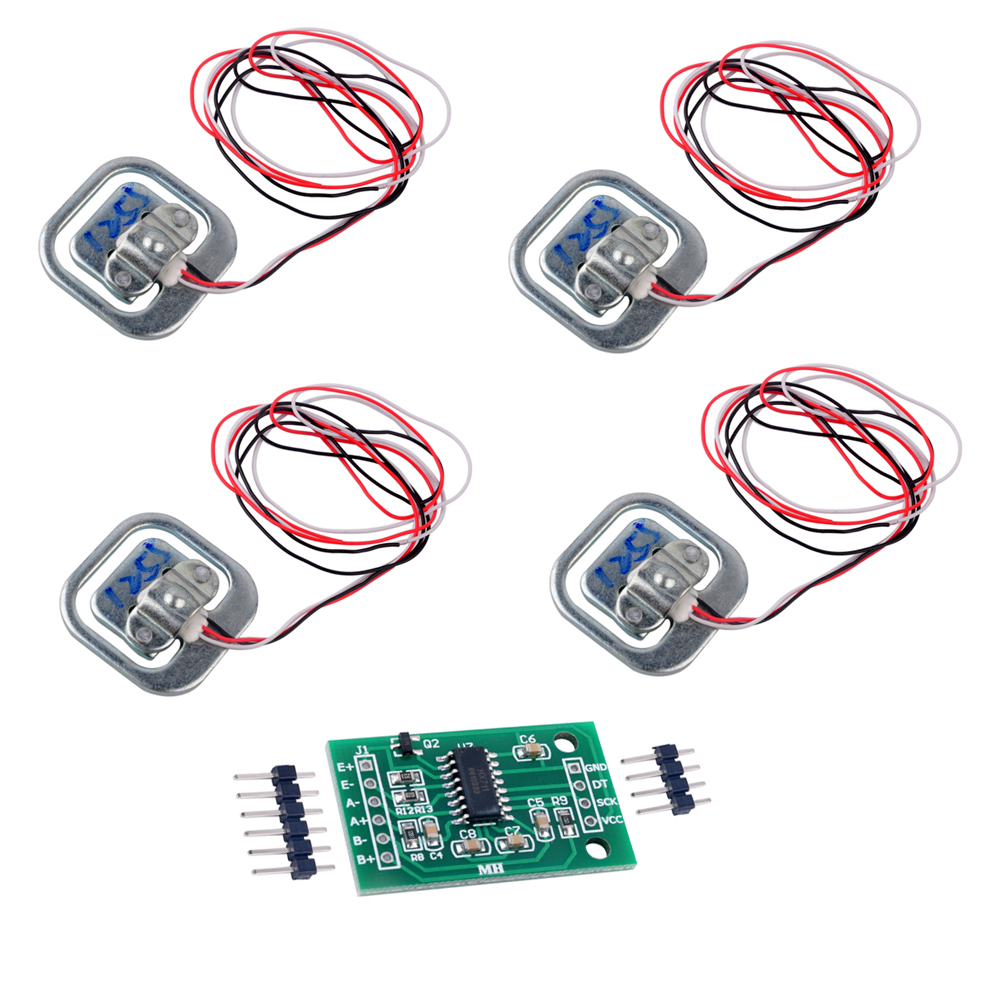 4pcs 50KG Half-bridge Human Scale Load Cell Weight Weighting Sensor With Amplifier HX711 AD Module