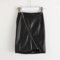 Women Sexy Soft Leather Pencil Skirt Zipper Bodycon High Waist Black Short Mini Skirt Clubwear Skirts