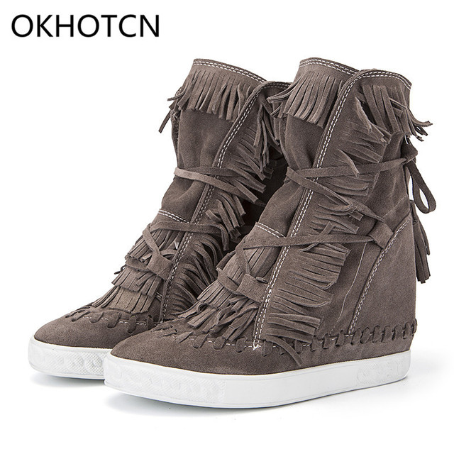 c6c5f88b440 Fringe Suede Wedge Boots Height Increasing Lace up Ankle Booties Tassels  Boots Women Tenis Feminino Genuine Leather Shoes Woman