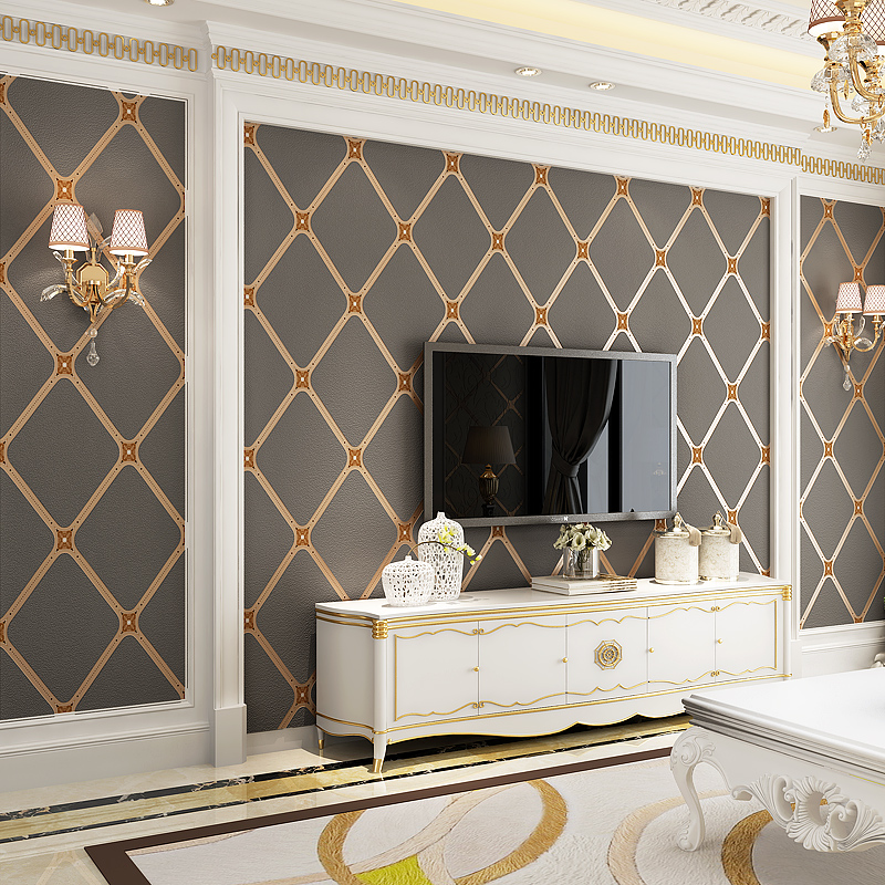 European Style 3D Embossed Geometry Luxury Wallpaper Modern Simple Living Room Bedroom TV Sofa Background Wall Papers Home Decor simple particle embossed plaid glitter flower wallpaper living room tv background modern wall covering floral wall paper rolls
