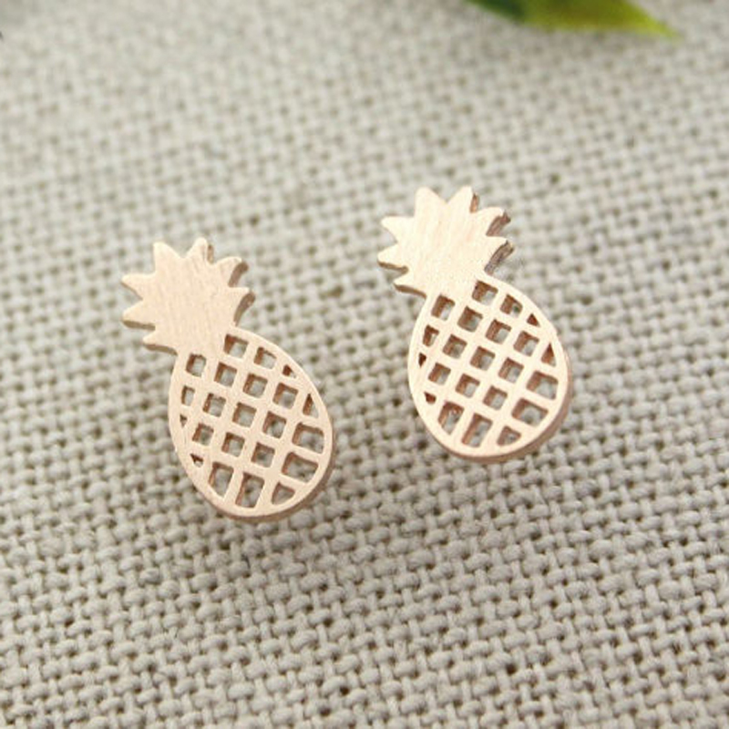 Minimalist Stainless Steel Pineapple Stud Earrings For Women Fashion Jewelry 2017 Boucle doreille Femme Brincos Rose Gold Bff