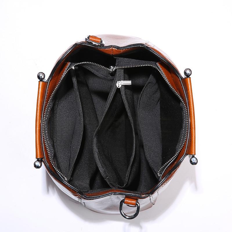 d8d8ceade3657 Leder Schulter 2 Für Weibliche 2019 Echtes schwarzes Damen Tote amp   Messenger Handtaschen Brown Taschen Frauen ...