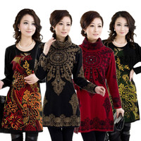 New 2014 Autumn And Winter Plus Size 4XL Women S Knitted Sweater Embroideried Dress Knitted Pullover