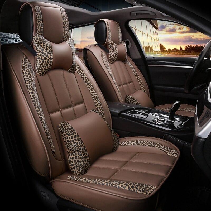 13 pcs PU Leather Automobiles Seat Covers Set Leopard Design Universal Seat Cushion Protector Pad Car