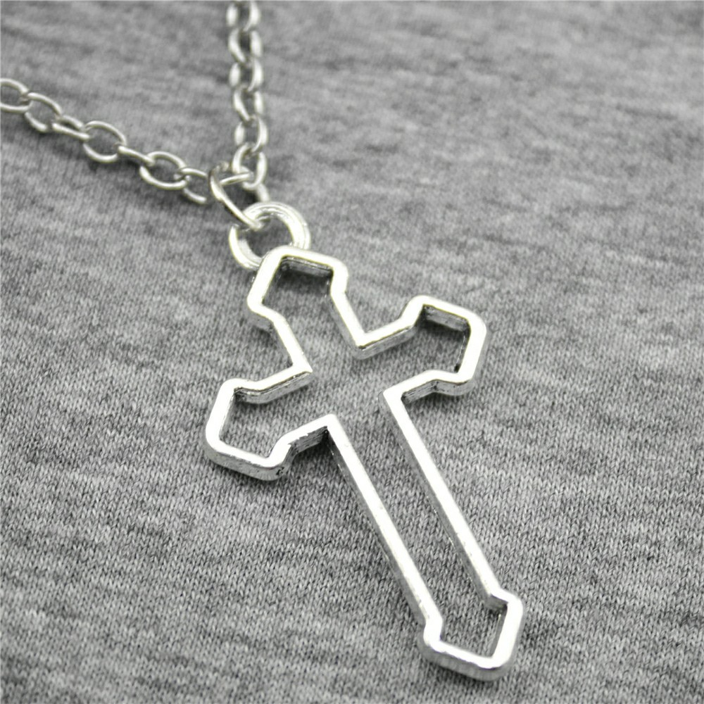 2 Colors Antique Bronze Antique Silver Color 38x22mm Cross Pendant Necklace For Women 2019 Jewelry Gift Dropshipping