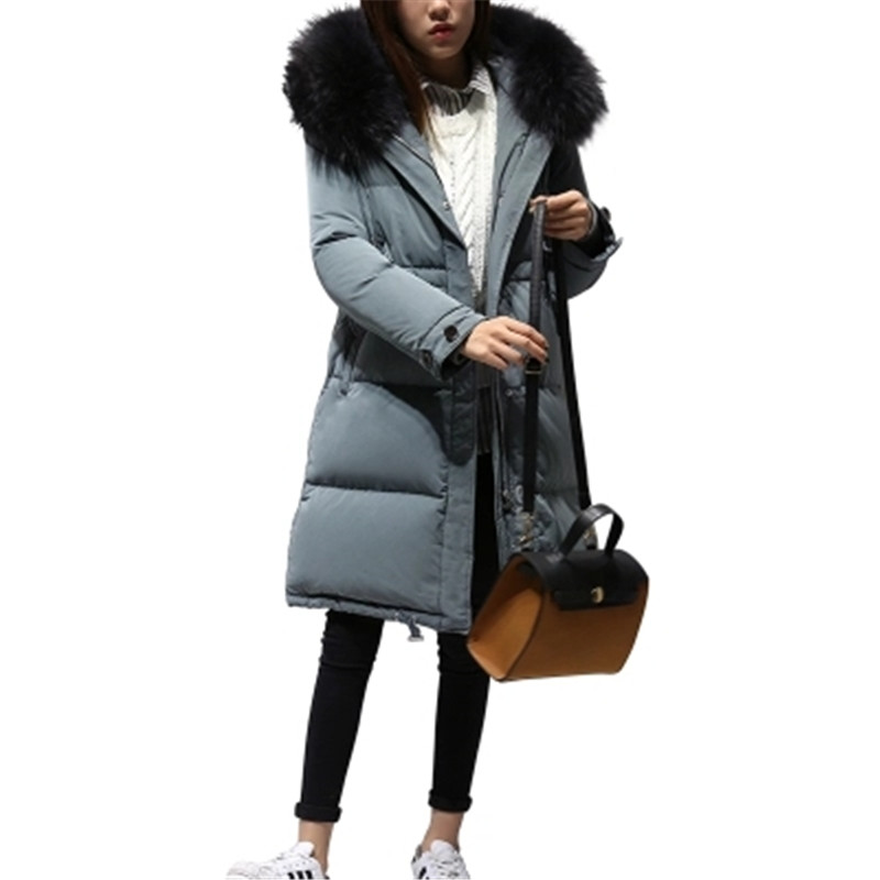 2017 New Winter Women Coat Fashion Warm Large Fur Collar Coat Large Size Duck Down Jacket Thick Hooded Winter Down Coat SK45