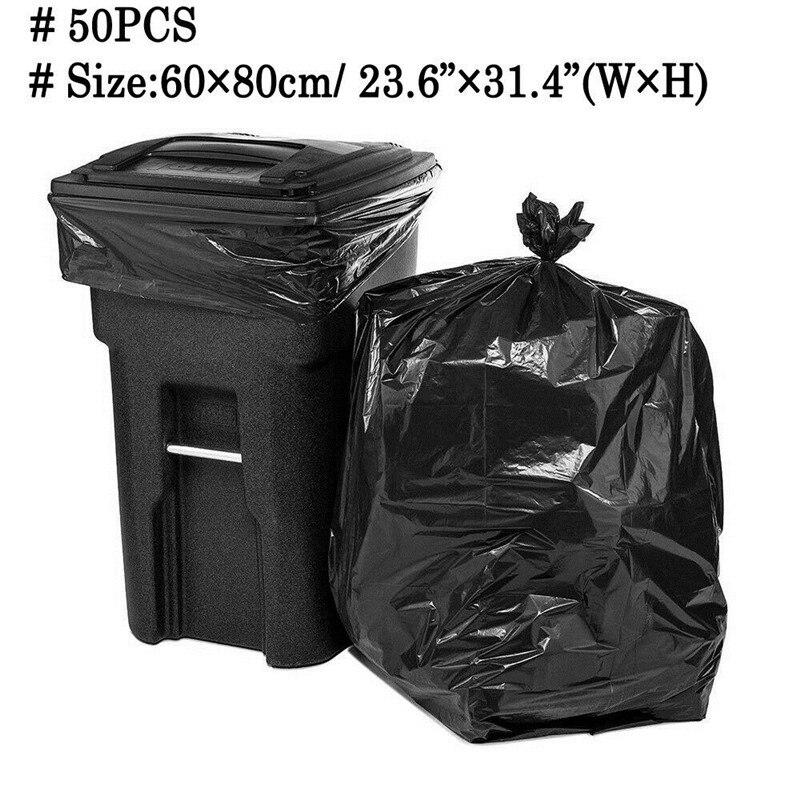 50PCS Garbage Bags Heavy Duty Rubbish Bin Liners Large Plastic Bags Black Bulk