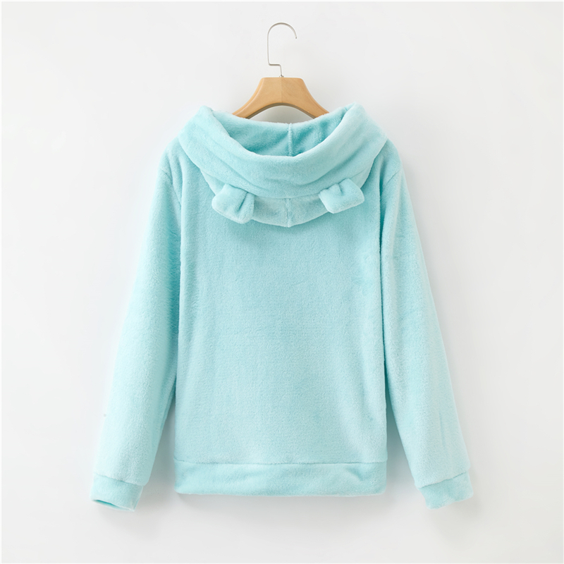 Women's Flannel Hoodies Sweatshirts Lovely With Bears Ears Solid Warm Hoodie Autumn Winter Casual Campus Pullovers Coat 19