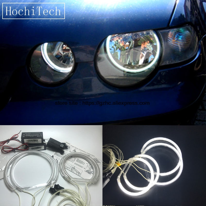 все цены на HochiTech For 2001-2004 BMW 3 Series E46 Compact Ultra Bright Day Light DRL CCFL Angel Eyes Demon Eyes Kit Warm White Halo Ring
