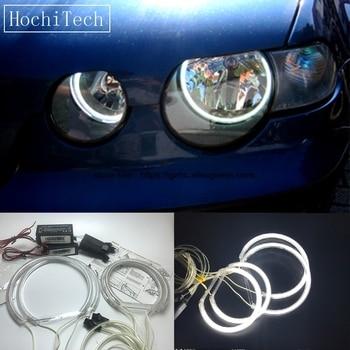 цена на HochiTech For 2001-2004 BMW 3 Series E46 Compact Ultra Bright Day Light DRL CCFL Angel Eyes Demon Eyes Kit Warm White Halo Ring