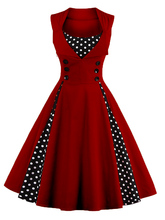 Top Quality Selling 2017 Sleeveless Retro Vintage Dot Expansion Sexy Dress Vestidos De Verano Ball Gown Buttons Women Clothes