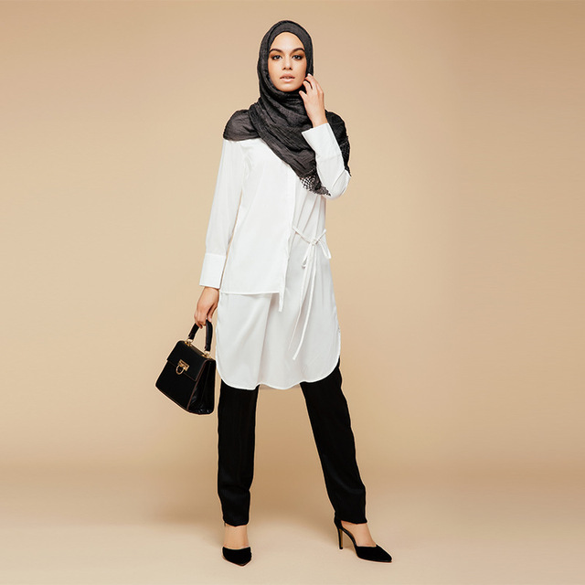 2016 moda de alta qualidade da menina do Islamismo top casual camisa de manga longa blusas brancas tops plus size para mulheres muçulmanas