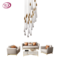 Youlaike Luxury Modern Chandelier Lighting For Staircase Spiral Design Water Drop Crystal Lamp Lobby Long LED Cristal Lustre