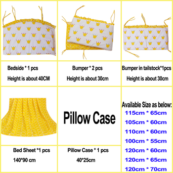 6Pcs Baby crib bedding Bumpers Cartoon Baby Bedding Bed Around Package Bed Sheets 100%Cotton Thickening Beautiful Crib Bumper 1