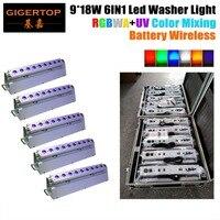 5IN1 Дорожный Чехол упаковки + 5xlot D Fi беспроводной DMX RGBWA УФ 6IN1 мыть светодиодный свет литий ионный аккумулятор работает 9*18 Вт светодиодные лам