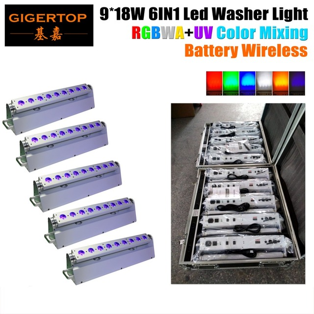 5IN1 Road Case Packing + 5XLOT D-Fi Wireless DMX RGBWA UV 6IN1 LED Wash Light Rechargeable Li Ion Battery Powered 9*18W Led Lamp