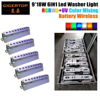 5IN1 Yol Durumda Ambalaj + 5 XLOT D-Fi Kablosuz DMX RGBWA UV 6IN1 LED Yıkama Işık Şarj Edilebilir Li Ion Pil Powered 9*18 W Led lamba