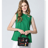 Pearl Buttons Vest Chiffon Shirt Fashion Loose Fashion Loose Green Blouse Blusas Mujer Simple And Comfortable