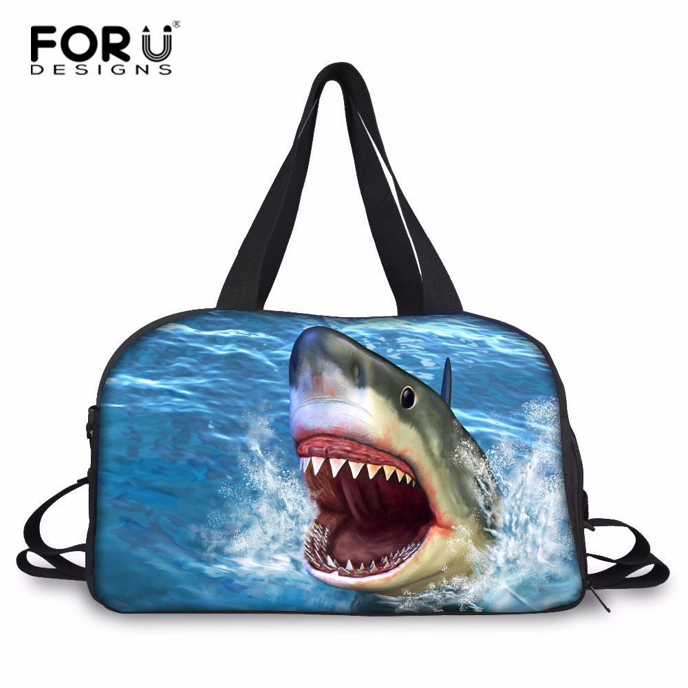 FORUDESIGNS Shark Pattern Men Travel Bags Male Carry on Luggage Bags Teenager Boys Panda Designer Duffle Bag High-capacity Pack