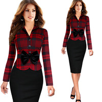 High Quality 2016 Women Elegant V Neck High Waist Pencil Bodycon Scallops Plaid Dress Long Sleeves